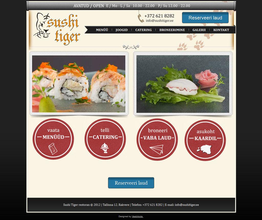 Kodulehe tegemine - Sushi tiger