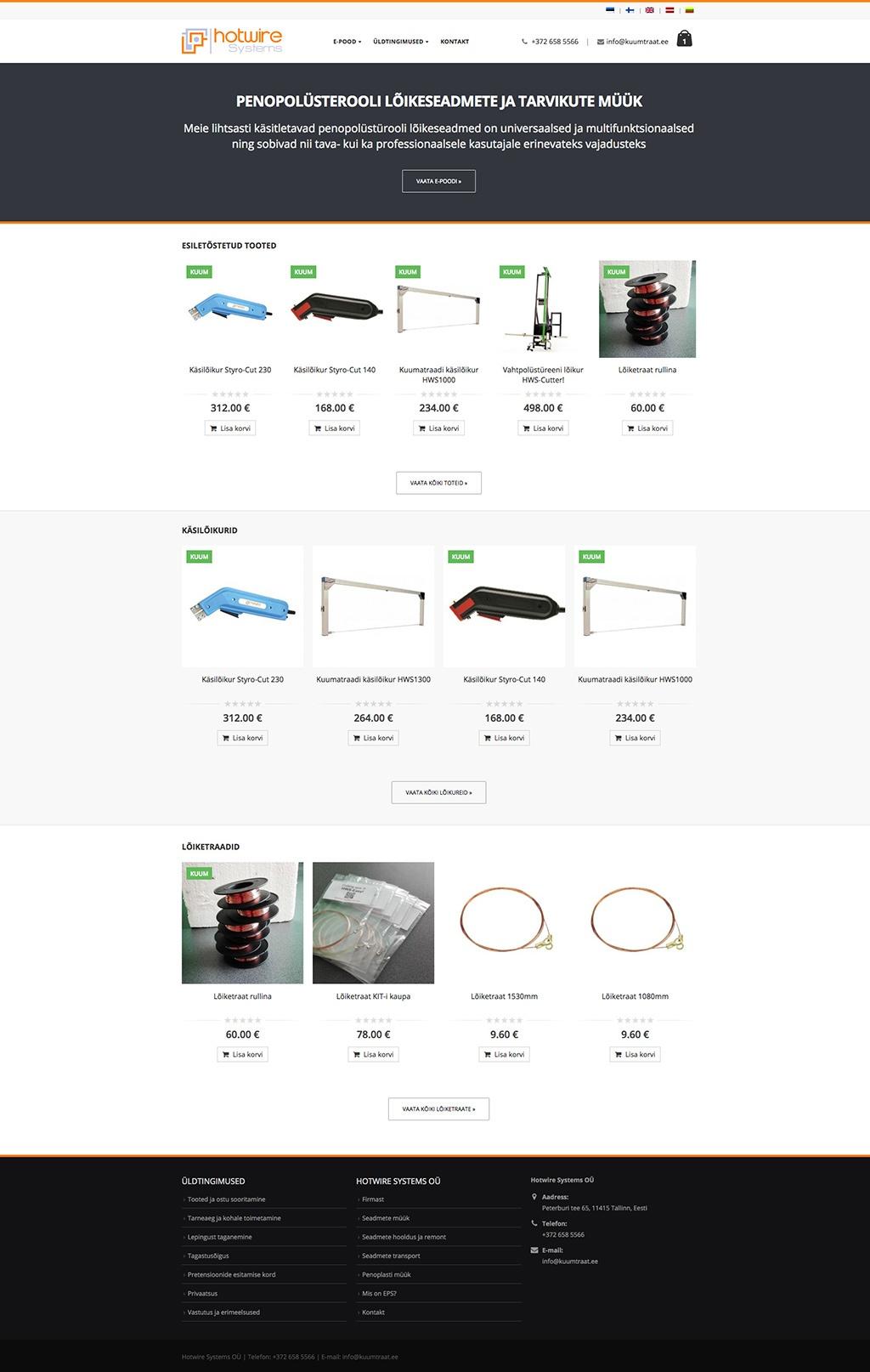 Penopolüstürooli lõikeseadmete ja tarvikute e-pood